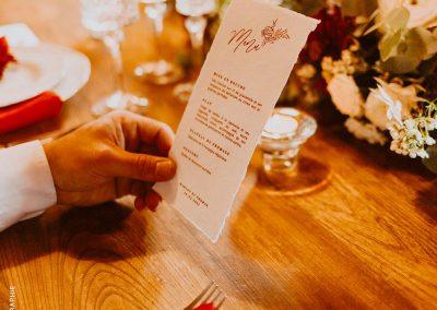 menu de mariage papier coton champêtre