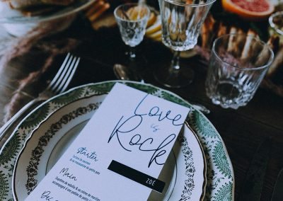 menu de mariage original thème rock