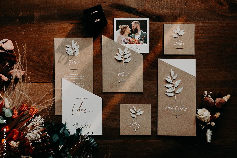 collection papeterie de mariage fleurs séchées