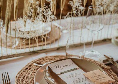menu de mariage élégant papier coton