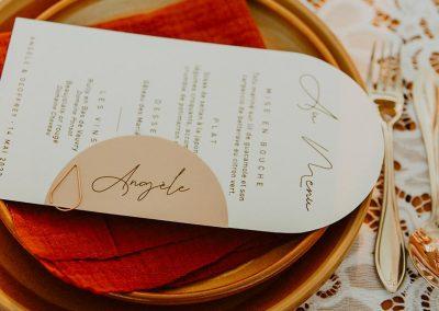 menu mariage original forme arrondie