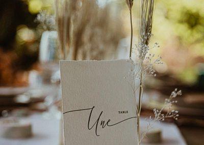 numéro de table mariage chic élégant